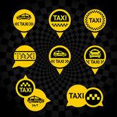 Taxi - gele emblemen — Stockvector