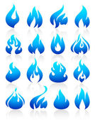 Fire flames blue, set icons — Stock Vector