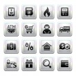 Shopping Icons. square gray. Web 2.0 icons — Stock Vector