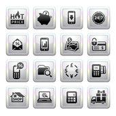 Iconos de compras. gris. iconos web 2.0 — Vector de stock