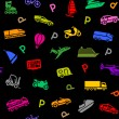 Seamless background, transport colored icons — Stock Vector #24260171