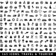 165 icons. Travel and Tourism — Image vectorielle