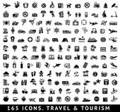 165 icone. viaggi e turismo — Vettoriale Stock