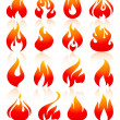 Fire flames red, set icons — Stock Vector