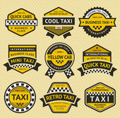Taxi cab set insignia, vintage style — Stock Vector