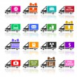 Set of Cargo trucks colored icons — Stock Vector