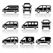 Set of transport icons - Van — Stock Vector