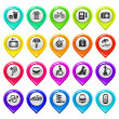 Map marker with icons-set two - Imagens vectoriais em stock
