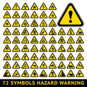 Triangular Warning Hazard Symbols. Big yellow set — Stock Vector