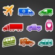 Set of stickers, transport color icons — Stock Vector