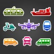 Set of stickers, transport color signs — Stock Vector