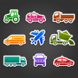 Set of sticky stickers, transport color icons — Stock Vector