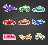 Set of sticky stickers, transport color pictograms — Stock Vector