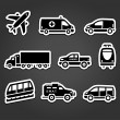 Set of stickers, transport icons — Stock Vector