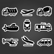 Set of stickers, transport color pictograms — Stock Vector