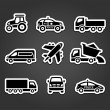 Set of sticky stickers, transport icons — Stock Vector