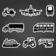 Royalty-Free Stock Vector Image: Set of sticky stickers, transport symbols