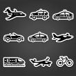 Set of sticky stickers, transport pictograms — Stock Vector