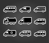 Set of sticky stickers, transport signs — Stock Vector