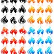Fire flames, big set new icons — Stock Vector #26305523