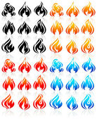 Fire flames, big set new icons — Stock Vector