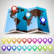 Map world with colorful pin pointers location — Stockvektor