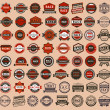 Stock Vector: Racing badges - vintage style, big set