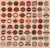 Racing badges - vintage style, big set — Stock Vector