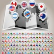 Map world with flags — Vector de stock