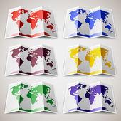Набор цветных карт мира — Cтоковый вектор
