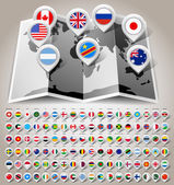 Map world with flags — Stock Vector