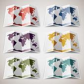 Retro barevných map světa — Stock vektor