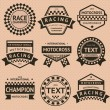 Racing insignia set, vintage style — Stock Vector