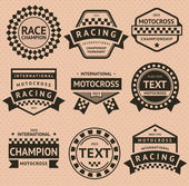 Racing insignier set, vintage stil — Stockvektor