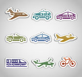 Flat retro color stickers - Set one — Stock Vector