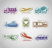 Flat retro color stickers - set thirteen — Stock Vector