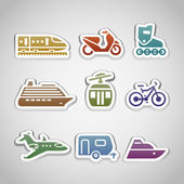 Flat retro color stickers - set twelve — Stock Vector