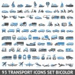 93 Transport icons set blue and gray — Stock Vector