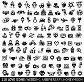 Set black icons, love symbols — Stock Vector
