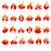 Fire flames, set orange icons with reflection — Stock Vector