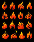 Fire flames, set 3d red icons on a black ground — Stock Vector