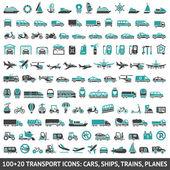 100 和 20 交通工具图标 — 图库矢量图片