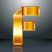 Letter metal gold ribbon - F — Stock Vector