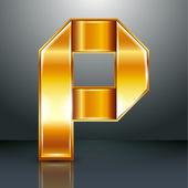 Metallo nastro oro lettera - p — Vettoriale Stock