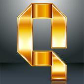 Letter metal gold ribbon - Q — Stock Vector