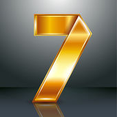 Number metal gold ribbon - 7 - seven — Stock Vector
