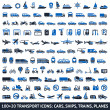 Stock Vector: 100 AND 20 Transport blue icons