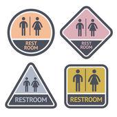 Toaletten symboler set, platt symboler — Stockvektor