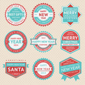 Zestaw naklejek i odznaki dla kartki świąteczne — Wektor stockowy