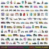 100 AND 20 Transport colored icons — Stock vektor